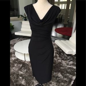 RALPH LAUREN Ruched Black Dress.